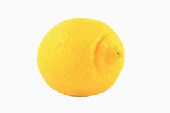 One Yellow Lemon Isolated On White Stock Images