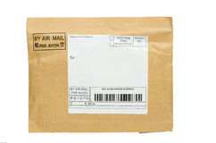 One yellow mail package from recycling paper Royalty Free Stock Photo
