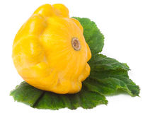 One yellow pattypan squash with leaf  on white background Royalty Free Stock Photos