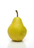 One yellow pear. On yellow pear with drops on white background. Look for more fruits and vegetables at my gallery Stock Images