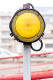 One yellow signal light Royalty Free Stock Images