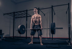 One young adult man bodybuilder, shouting screaming deadlift. Barbell weights, dark indoors gym Stock Image
