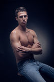 One young adult man, Caucasian, fitness model, muscular body, sh Royalty Free Stock Images