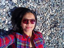Woman Taking Selfie Beach stock image