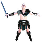 One young bald warrior in the Roman light armor. Barbaric Royalty Free Stock Image