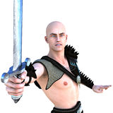 One young bald warrior in the Roman light armor. Barbaric Stock Image