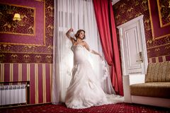 Beautiful model in wedding dress posing standing in studio photo session. royalty free stock photography