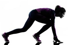 Woman runner running jogger jogging isolated silhouette shadow Royalty Free Stock Photography