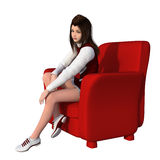 One young girl in white-red uniform of cheerleader. Sitting in a red armchair Royalty Free Stock Image