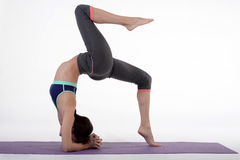 One young healthy sporty caucasian woman exercising yoga on isolated white studio background. Stock Photos