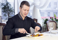 One young man dines Stock Photo