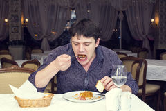 One young man dines Stock Photos