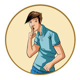 One young man with finger to lips. Illustration of a young man gesturing with his hands. Emotions. Both images are placed on individual layers. High resolution Stock Image