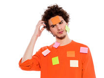 One young man portrait covered by  adhesive notes Stock Photography