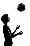 One young teenager boy girl silhouette Stock Photography