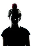 One young teenager girl silhouette with an apple Stock Photo