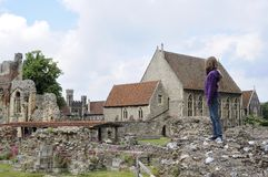 One young tourist admiring ruins Royalty Free Stock Photo