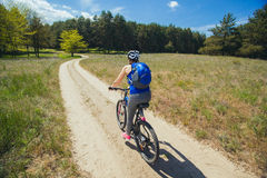 One young woman - an athlete rides on a mountain bike outside of town in a pine forest Stock Image