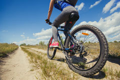 One young woman - an athlete rides on a mountain bike outside of town in a pine forest Royalty Free Stock Photography