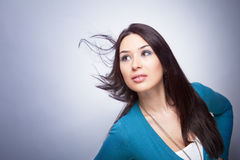 One young woman with hair in motion Royalty Free Stock Image