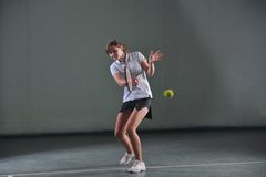 One young woman play tennis Stock Photo