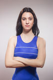 One young woman swimmer swimsuit, serious expression Stock Photography