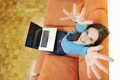 One young woman working on laptop Royalty Free Stock Photography