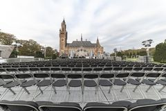 One young world summit 2018. Deedmob organization organize an open air summit in front the perron of the Peace Palace with seats on in The Hague royalty free stock photo