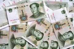 One yuan. Chinese paper money, One Yuan, Mao Tse Thung rmb background royalty free stock photos