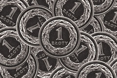 One zloty coin background Stock Photos
