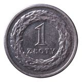 One zloty coin isolated on white Royalty Free Stock Photo