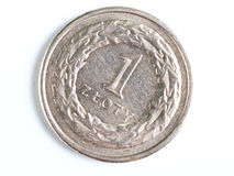 One Zloty coin macro Royalty Free Stock Photography