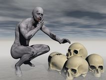 One zombie and skulls - 3d render Royalty Free Stock Photo