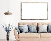 Onecht omhoog houten kader in woonkamer het 3d teruggeven vector illustratie