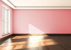 Onecht omhoog leeg binnenland met groot venster het 3d teruggeven Royalty-vrije Stock Afbeeldingen