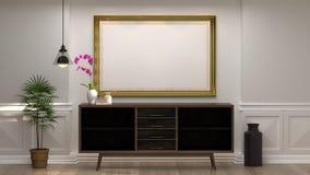 Onecht omhoog leeg fotokader met houten kabinet met lamp voor de lege witte minimale stijl van muur decoratieve punten in lege ru royalty-vrije stock foto