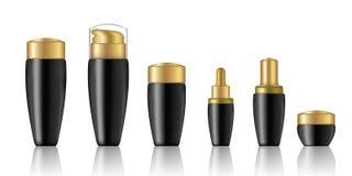 Onecht omhoog Realistisch Zwart Kosmetisch die Zeep, Shampoo, Room, Parfum en Druppelbuisjeflessenproduct met Gouden GLB-Achtergr stock illustratie
