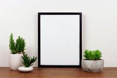Onecht omhoog zwart kader tegen witte muur met succulente installaties op een houten plank stock afbeeldingen