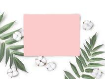 Onechte omhoog lege roze document spatie met katoenen die bloemen en bladeren op witte achtergrond worden geïsoleerd royalty-vrije stock afbeelding