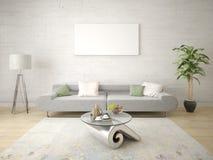 Onechte omhoog modieuze woonkamer met een elegante bank stock illustratie