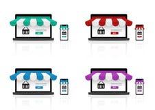 Onechte omhoog Realistische Online het Winkelen Opslag op Smartphone-Toepassing en Laptop Website voor de achtergrond van het Ver stock illustratie