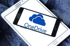 OneDrive logo. Logo of microsoft onedrive on samsung mobile. it is a file-hosting service operated by Microsoft as part of its suite of online services. It Royalty Free Stock Photography