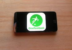 Onefootball app royalty-vrije stock foto's