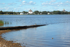 Onega river and ancient town Kargopol Royalty Free Stock Photo