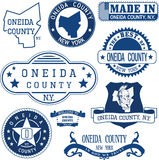 Oneida county, New York. Set of stamps and signs. Royalty Free Stock Photo