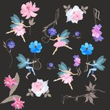 Oneindig muzikaal magisch patroon De gevleugelde feeën in ballettutu's en elf dansen met mooie tuinbloemen, g-sleutel en lier stock illustratie