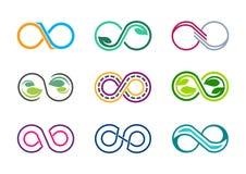 oneindigheid, embleem, acht, oneindige, moderne abstracte de oneindigheidsreeks van de bladerenaard van het pictogram vectorontwe Stock Fotografie