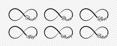 Oneindigheidssymbolen Herhaling en onbeperkte cyclische verlooppictogram en tekenillustratie op transparante achtergrond forever royalty-vrije illustratie