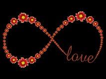 Oneindigheidssymbool van rode die bloem op zwarte wordt geïsoleerd Gespaard met het knippen van weg Royalty-vrije Stock Afbeeldingen