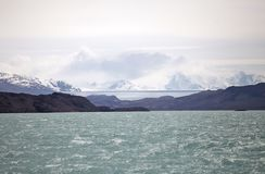 Onelli Glacier view from the Argentino Lake, Argentina. Argentino Lake is the biggest freshwater lake in Argentina royalty free stock photography